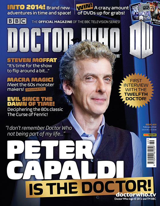 Peter Capaldi is the Doctor, on the cover of Doctor Who Magazine 469
