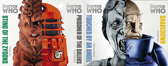 Covers for Doctor Who Monsters Collections novels: Sting of the Zygons, Prisoner of the Daleks, Touched by an Angel and Shakedown