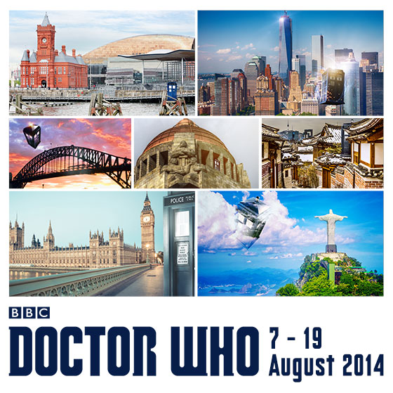 Montage of locations to be visited on Doctor Who: The World Tour